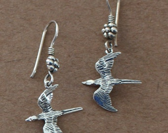 Earrings - Sterling Silver 3D SPARROW -  Bird - SWALLOW
