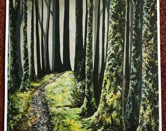The Forest. Print of Original Painting. Forest Painting, Print, Acrylic Painting, Trees, Moss.