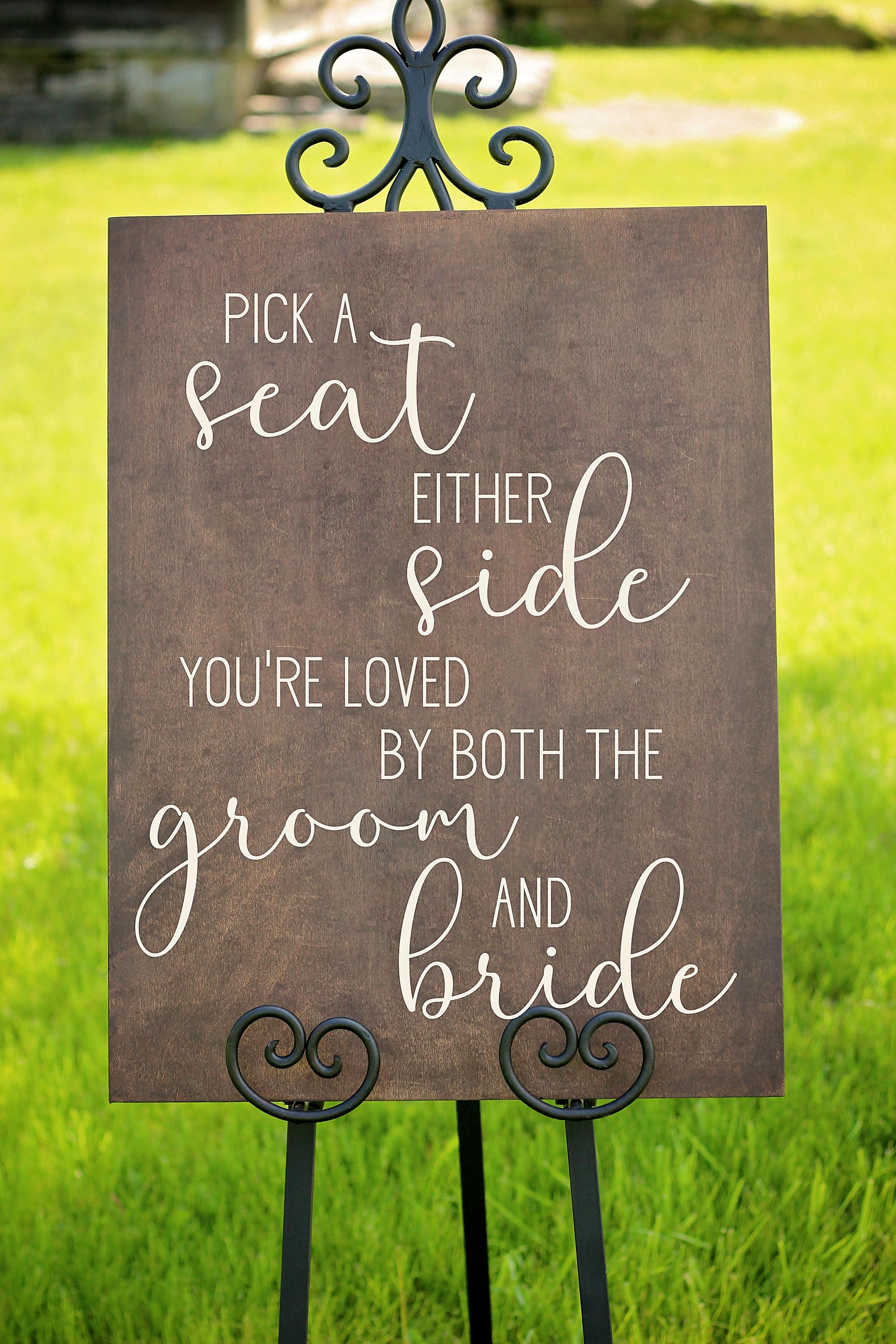 Pick A Seat Not A Side Sign Wooden Sign Wedding Signage