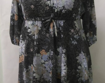 Vintage Size UK14 Warm Grey Dress with Tie Waist Plus Size