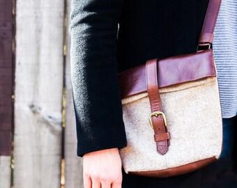 Small Leather & Fabric Foldover Cross Body Bag - Leather Crossbody - Leather Bag - Foldover Bag - Cross Body Bag - Handmade Bag - Handbag