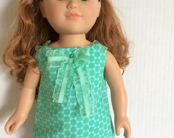 Teal doll outfit with matching headband