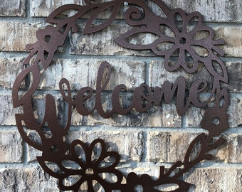 Round Metal Floral Welcome Sign/Metal Welcome Wreath/Metal Wall Decor/Birthday/Anniversary