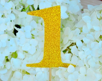Glitter Gold 1 Cake Topper Number One Cake Topper 1st Birthday Cake Topper Any Number Gold Glitter Cake Toppers First Birthday