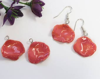 SALE Rose Petal Earrings, Real Rose Petal Earrings,Pink Rose Petals, Small Rose Petals, Real Rose Petal Jewelry SALE397