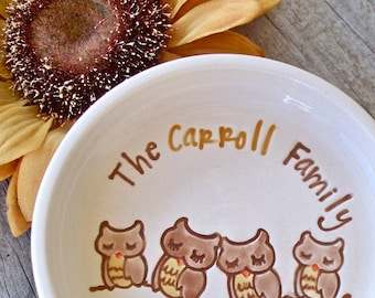Large Spoon Rest with Family of Adorable Owls - Personalized Spoon Holder Housewarming or Hostess Gift
