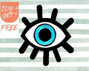 Evil Eye Patch All Seeing Eye Patch Iron On Patch Embroidered Patch Blue Evil Eye Hamsa Eye