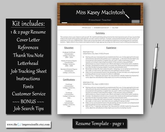 teacher resume template instant download microsoft word