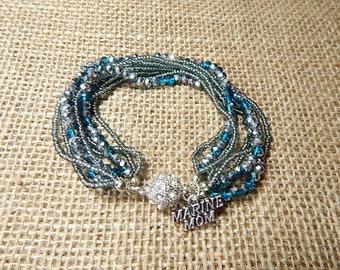 Marine Mom Bracelet Teal Silver 9 rows beaded bracelet