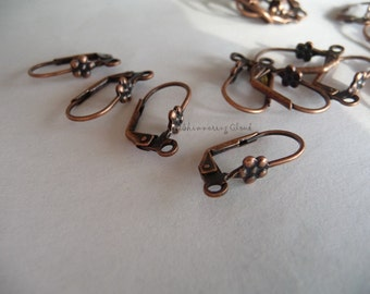 Leverback, ear wires, antique copper plated, 10pcs, 5 pairs, jewelry supplies, metal findings, earrings, oxidised, patinated,