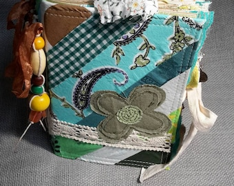 Handmade Quilted Fabric Junk Journal, green