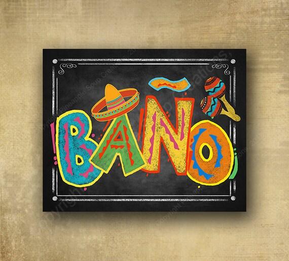 Printed Cinco de Mayo Fiesta Bano Bathroom sign, fiesta graduation sign, cinco de mayo birthday, cinco de mayo wedding special event sign