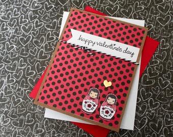 Matryoshka Valentines Card Set, Nesting Doll Valentines Card, Handmade Valentine, Valentines Day Card Set, Cute Valentine, Matryoshka Cards