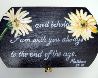 promise box,prayer box,personalized gift,chocolate brown,white daisies,women's box,woman gift,friend gift,comfort gift,keepsake box,gift box
