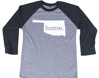 Homeland Tees Oklahoma Home Tri-Blend Raglan Baseball Shirt