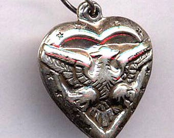 Vintage Puffy Heart Charm  Sterling 1950s  Eagle   Item: 14179