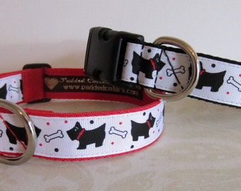 Scottie Dog (Scottish Terrier) & Bone pattern Dog Collars