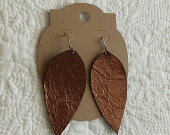 Genuine Leather Leaf Earrings in Metallic Dark Brown