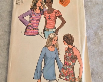 1970s Vintage Blouse Pattern  38 Inch Bust Factory Folded Simplicity 9930