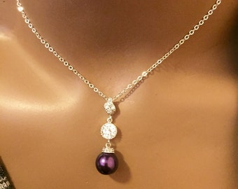 plz choose any of the design from 4 using style option,Purple cz crystal and pearl tear drop necklace,purple pearl necklace,crystal cz