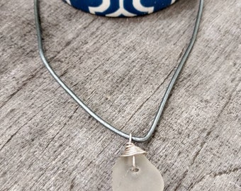 Hawaiian Sea Glass Leather Necklace