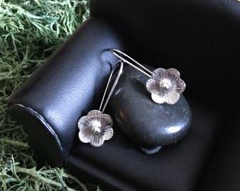 Sterling Silver Earrings * Hammered Argentium Handmade Flower Dangles * Simple Classic Timeless and Elegant * Gift for Her * Gift for Girls