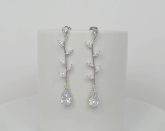 Bridal Cubic Zirconia Crystal Stud Earrings, Leaves, Vine, Tear Drop , Sterling Silver Posts, Wedding, Dian - Will Ship in 1-3 Business Days