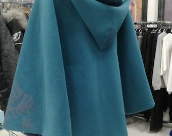 Moks26(c) warm poncho with hood and cross stitch - ethno style