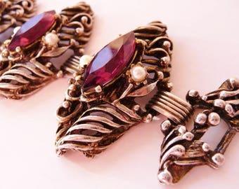 Selro Selini style purple faux pearl bracelet | ornate baroque Renaissance Revival | unsigned vintage bracelet steampunk style