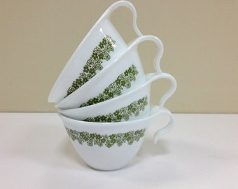 Vintage Corelle Spring Blossom Green Cups Crazy Daisy