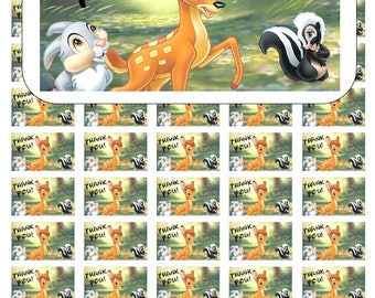 """50 Bambi and Thumper Thank You Envelope Seals / Labels / Stickers, 1"""" by 1.5"""""""