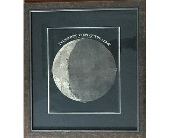 c. 1851 CRESCENT MOON LITHOGRAPH - original antique print - lunar view - waning crescent moon phase astronomy framed & ready to hang