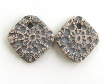 Earrings Beads - ceramic beads, square beads, antique coins, rhomb beads, retro beads, crafted rustic beads, aged beads, unique design