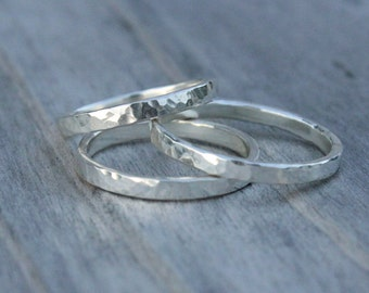 Sterling Silver Textured Stacking Rings