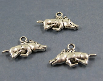 SET of 3 charm animal boar pig hunting forest Silver (D32)