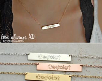 Coexist Necklace, Coexist symbols necklace, Personalized Bar Necklace, gold bar necklace, silver bar necklace, rose gold bar necklace