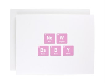 New Baby greeting card, periodic table, baby, geeky,congratulations, pink