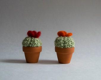 Mini hunchback - Cactus made of wool - knit, handmade interior design, textile, green art, plant eternal