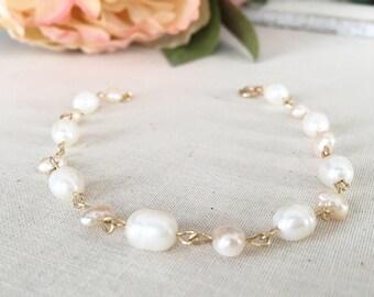 White Freshwater Pearl Bracelet, Gold Filled Bracelet, Pearl Jewelry, Wedding Bracelet, Bridesmaid Jewellery