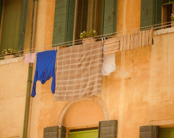 Italy Laundry Photo, Venice Photography Orange Wall Italian Colors Pastel Tones Window Wall Art Home Decor ven2