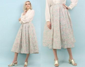 50s Pastel Circle Skirt, Size Medium, Vintage Lightweight Summer Skirt, Metal Zipper, Pleated, High Waisted, Long, Grey, Pink, Blue,