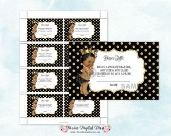 Diaper Raffle Tickets African American Princess Gold Crown Black Ruffle Pants  | Digital Instant Download