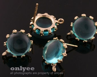 1pair/2pcs-10mm Gold plated Brass,Faceted Round Glass Earring, post earrings-BlueZircon(M340G-E)