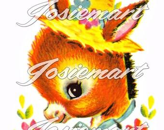 Vintage Digital Download Donkey Kawaii Vintage Image Collage Large JPG