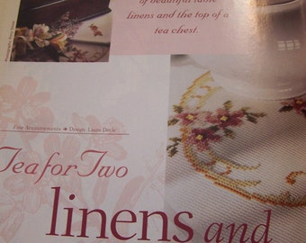Tea chest and linens floral cross stitch patterns in full color