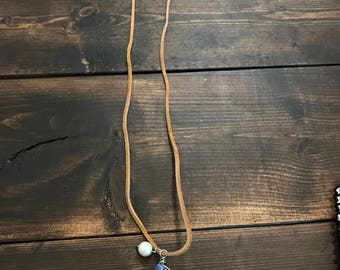 """15"""" Wrapped Wire Crystal & Pearl Suede Necklace"""