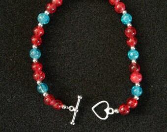 53. T-Bar Heart Beaded Bracelet