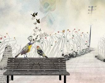Love birds art, Bird painting, Whimsical art, Romantic art, Love paintings, Anniversary gift