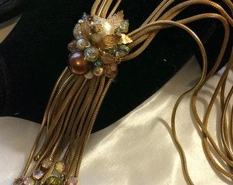 Vintage Multichain Cluster Tassel Lariat Necklace