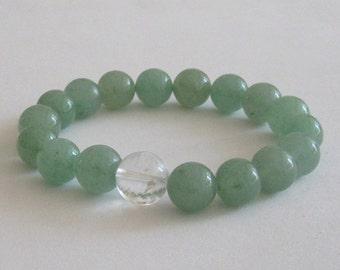 Green Aventurine Mala Beads, Worry Bracelet, Chakra Healing Beaded Bracelet, Quartz Crystal Women, Men Anniversary Retirement, Birthday Gift